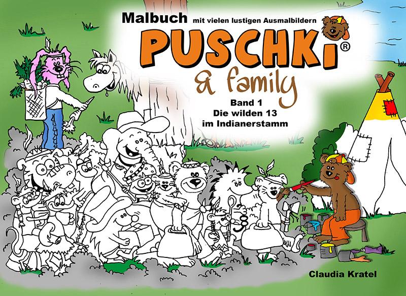 Bildergeschichten Puschki und Family Malbuch