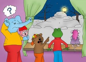 """Bildergeschichte """"Puschki & Family"""" - Winterfreuden: Im Garten ist ein Ufo gelandet"""