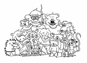Ausmalbild Puschkis Familie